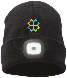 Pletená čepice s LED čelovkou
