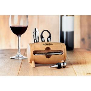 Dřevěný stojan s příslušenstvím na víno
