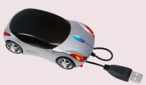 Optická USB myš k pc ve tvaru závodního vozu
