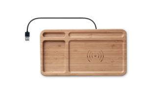 Krabička na stolní potřeby z bambusu s bezdrátovou nabíječkou