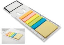 Plastová záložka s funkcí pravítka s barevnými lepicími papírky