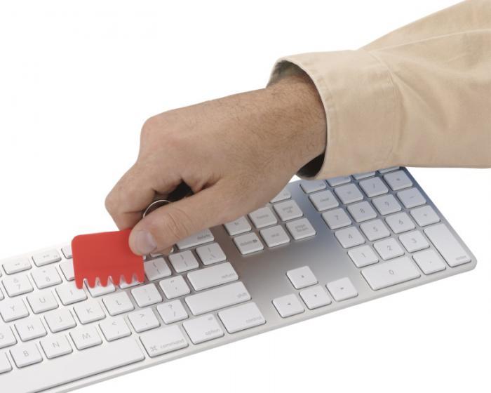 Klíčenkový silikonový kartáček na klávesnici