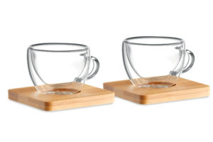 Set dvou dvoustěnných espresso šálků s bambusovým podtáckem