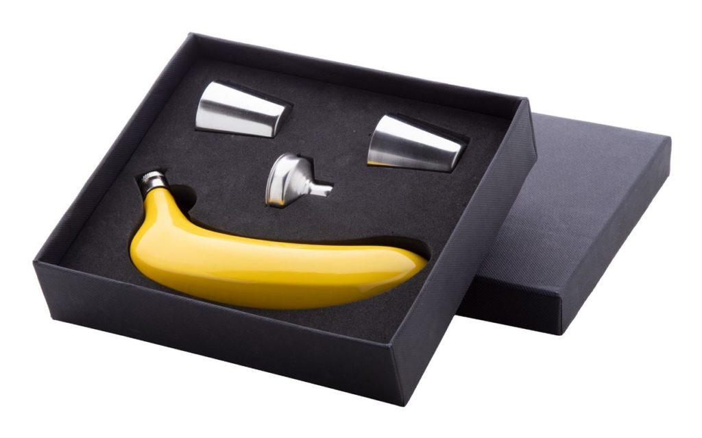 Butylka z nerez oceli ve tvaru banánu