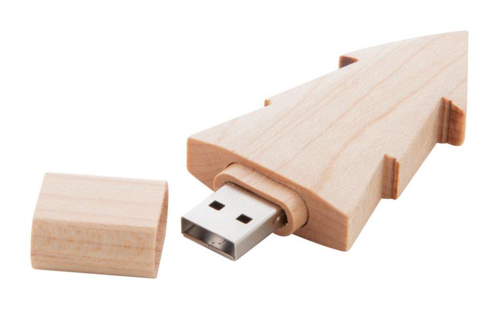 Dřevěný USB flah disk 8GB ve tvaru stromečku