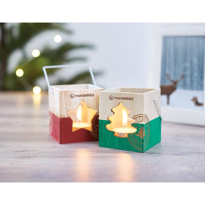 Dřevěný dekorační svícen