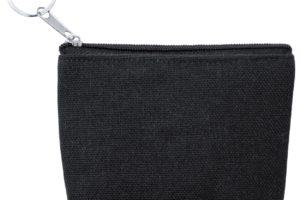 Plátěná peněženka na zip s kovovým přívěškem na klíče
