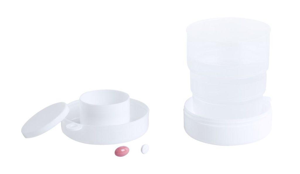 Plastový skládací pohárek s boxem na pilulky