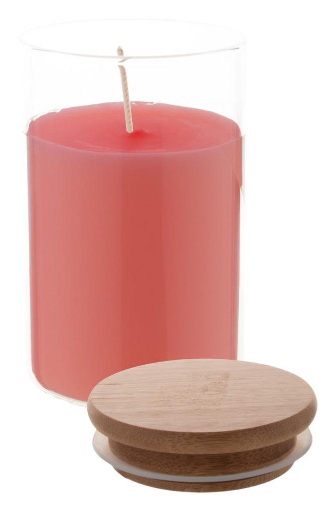 Vonná svíčka ve skleněné láhvi s bambusovým víčkem