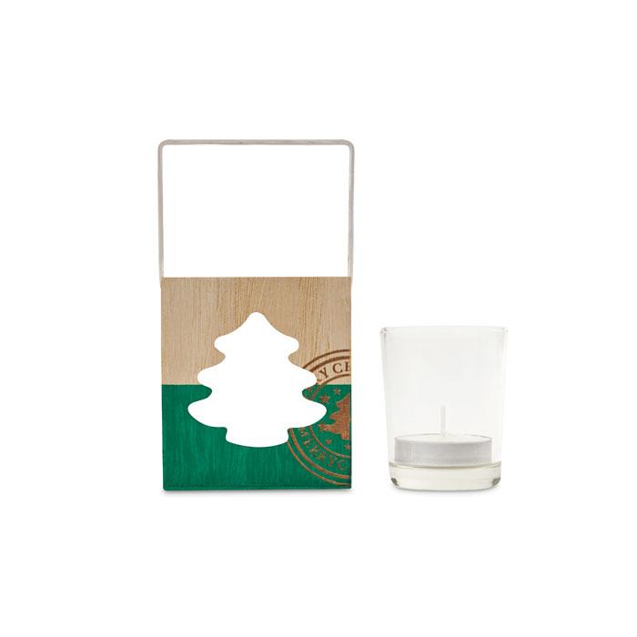 Dřevěný dekorační svícen pro čajovou svíčku