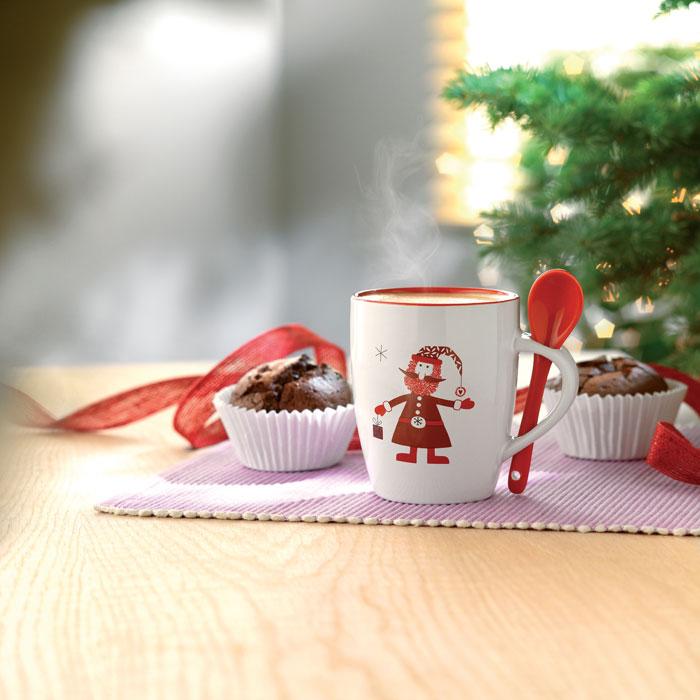 Keramický hrnek s integrovanou lžičkou a s vánočním motivem
