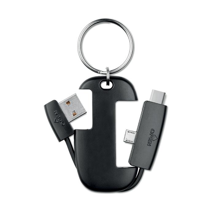 Klíčenka s integrovanými kabely USB, micro a typ C