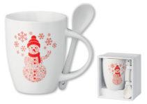 Vánoční keramický hrnek se lžičkou