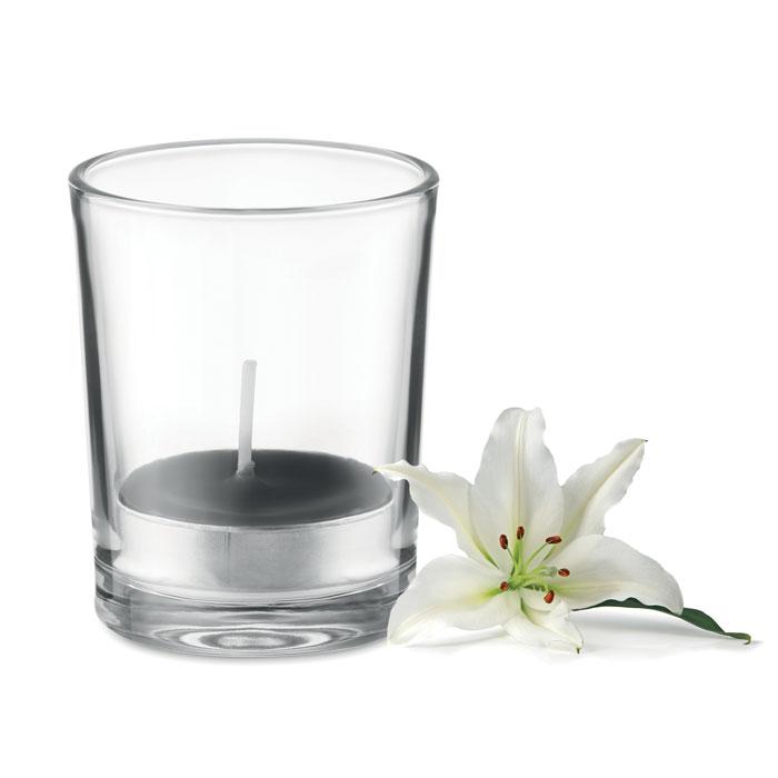 Vonná čajová svíčka ve svícnu ze skla