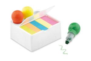 Stojánek na telefon se zvýrazňovači ve 3 barvách a lepícími papírky