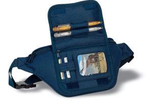 Ledvinka s kapsou na kreditní karty a pera
