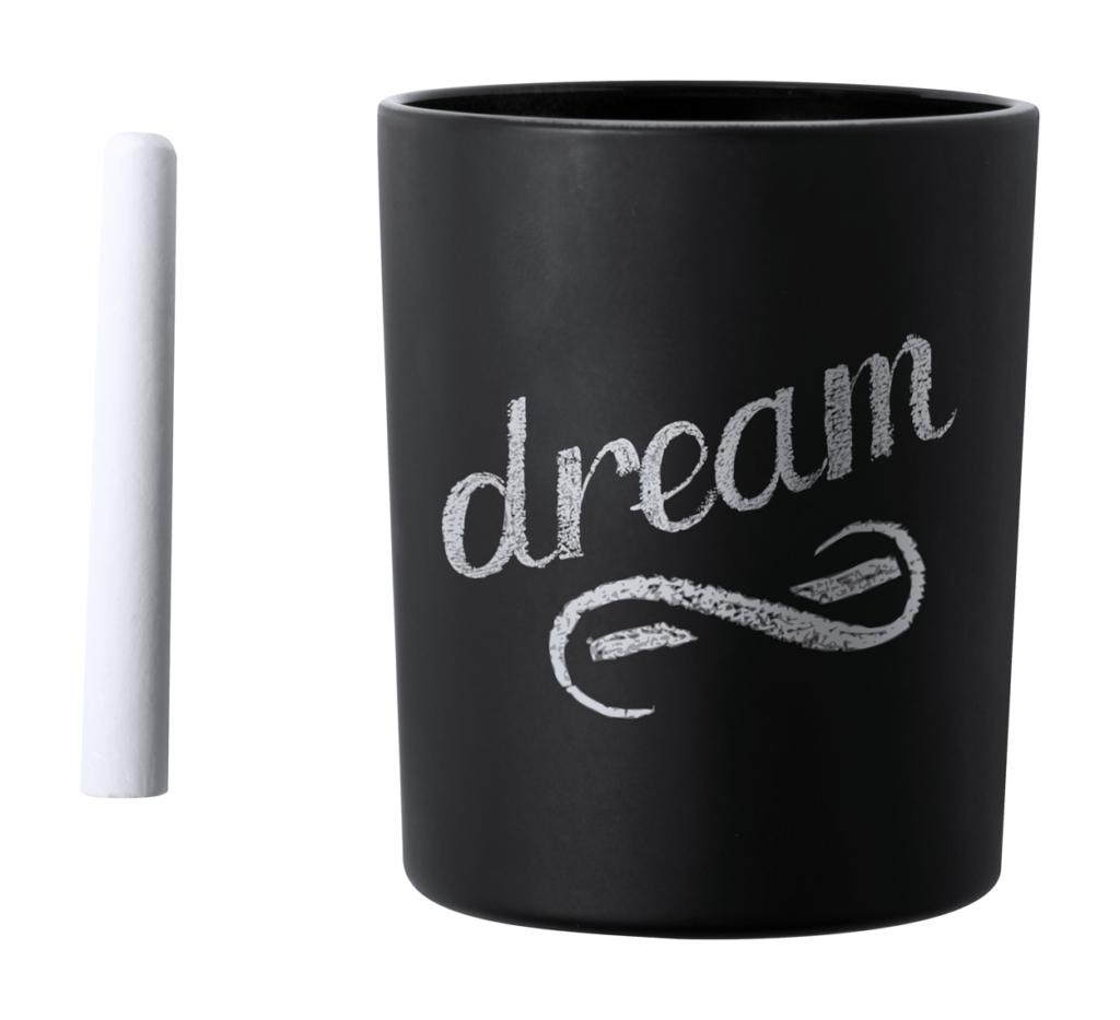 Svíčka s vůní vanilky s křídou na psaní