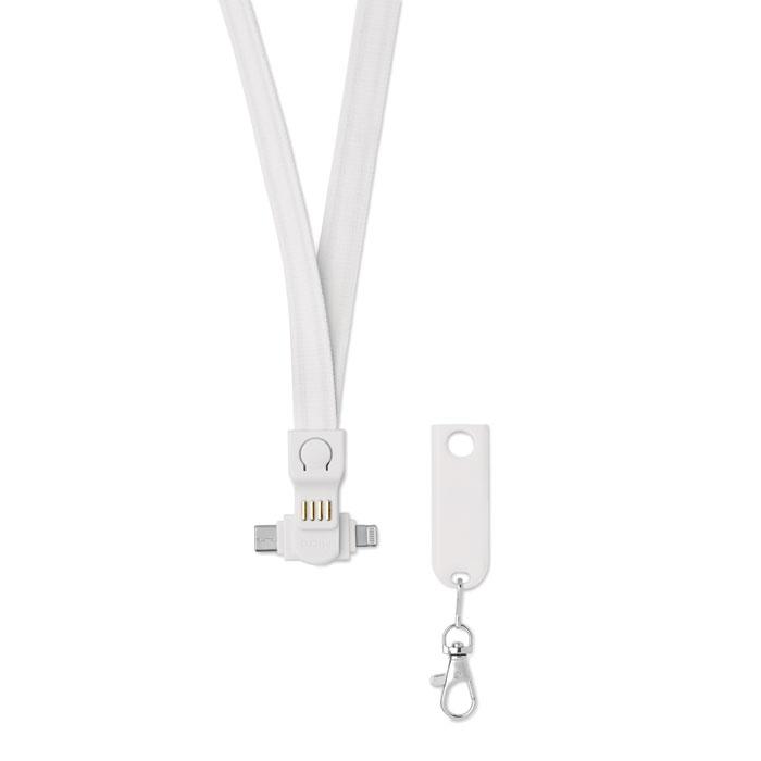 Šnůřka na krk s nabíjecím kabelem USB-A a Micro-B (2v1) a typem C