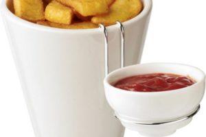 Keramická nádoba na hranolky s mističkou na kečup včetně držáku
