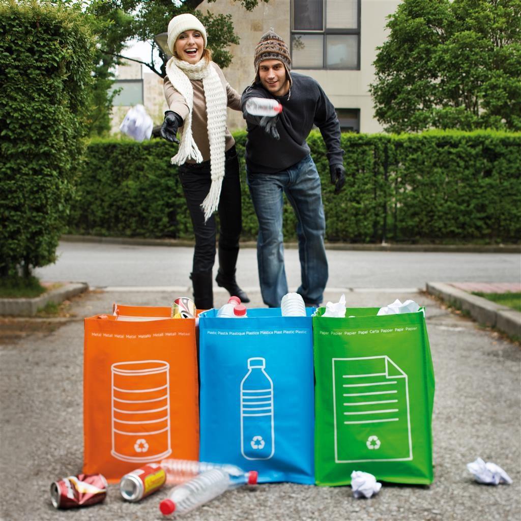 Tašky na třídění odpadu, 3ks papír, kov, plast