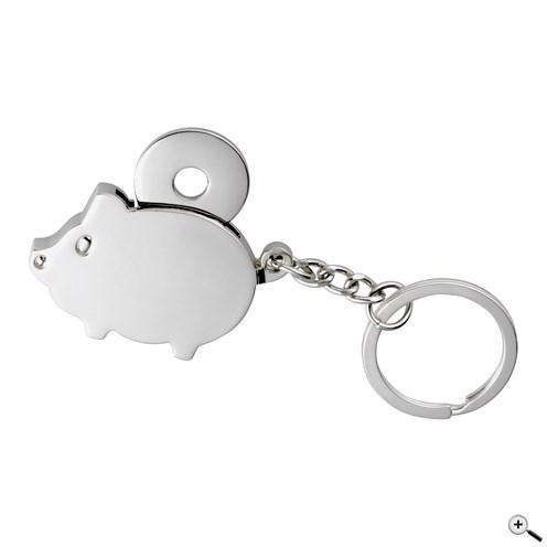 Kovový řetízek na klíče ve tvaru prasete, s integrovaným čipem do nákupního košíku