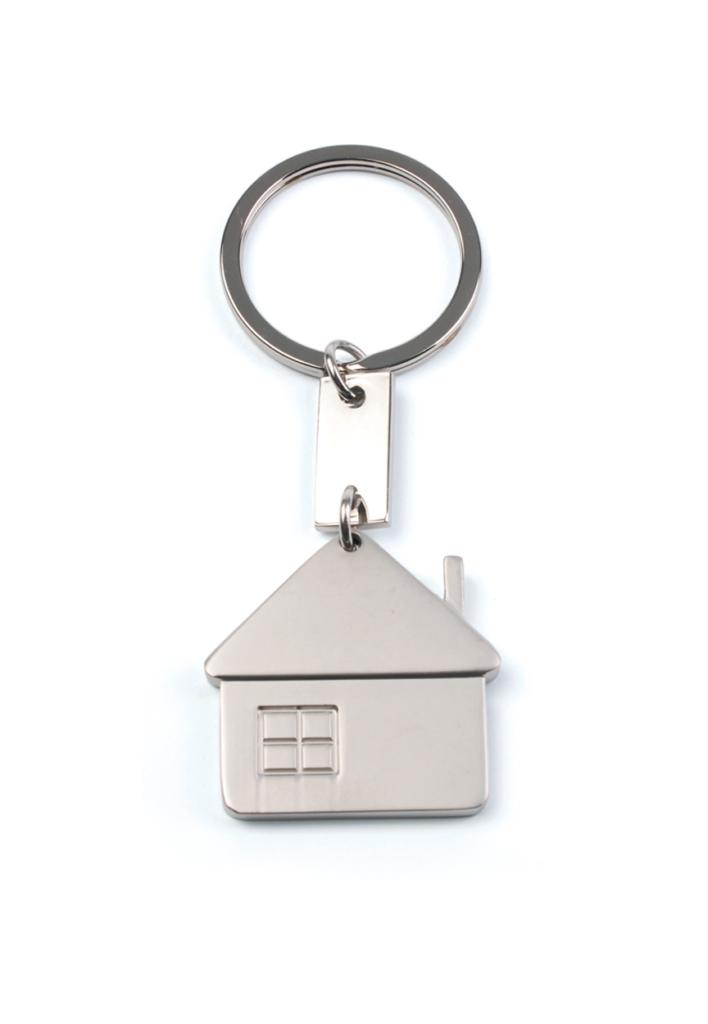 Kovová klíčenka ve tvaru domu