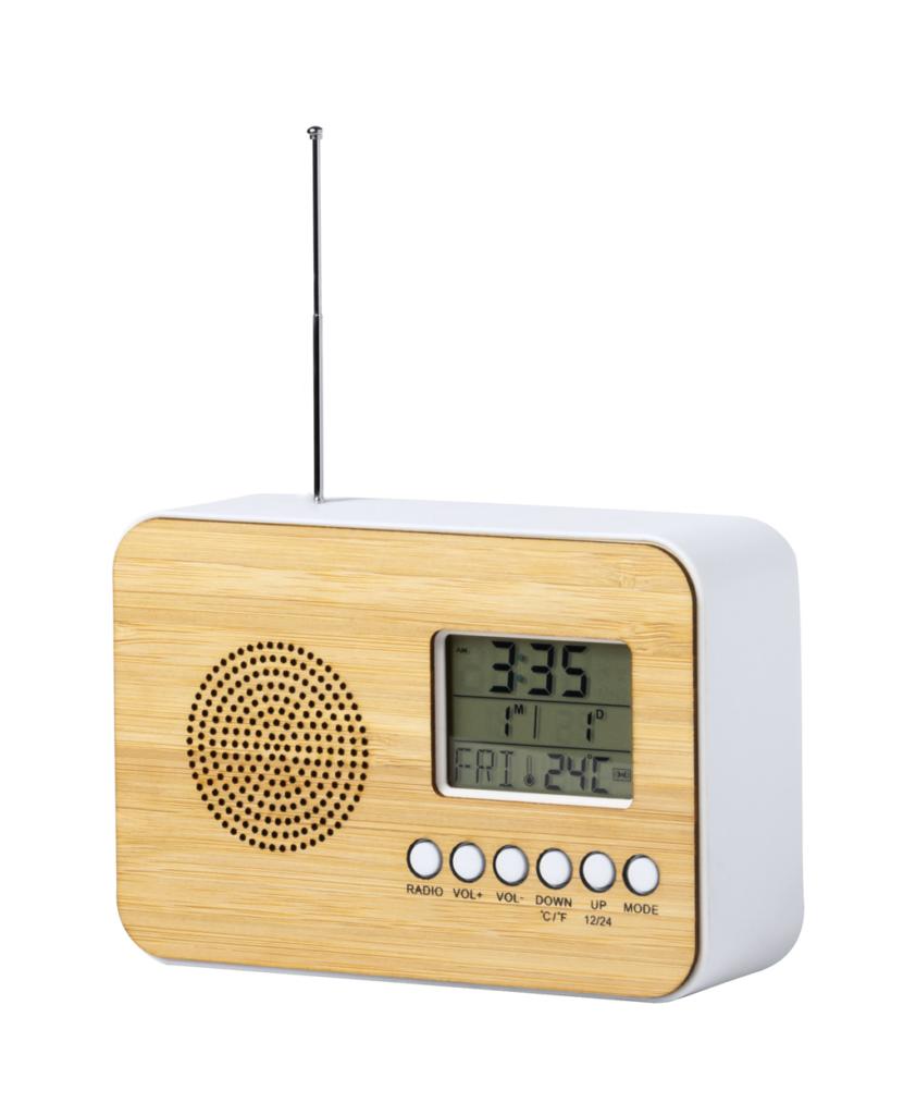 Stolní rádio s hodinami z bambusu