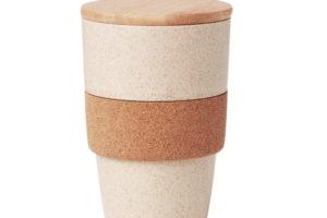 Eko pohárek s víkem z bambusu a korkovou rukojetí