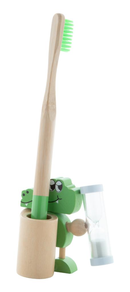 Stojánek na zubní kartáček ve tvaru krokodýla s přesýpacími hodinami