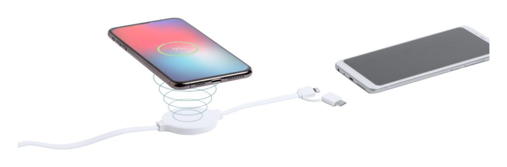 Plastový USB nabíjecí kabel s vestavěnou bezdrátovou nabíječkou na mobil