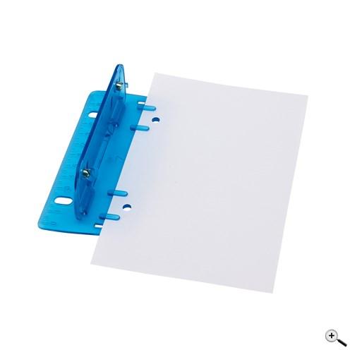 Mini děrovač na papíry s vestavěným pravítkem