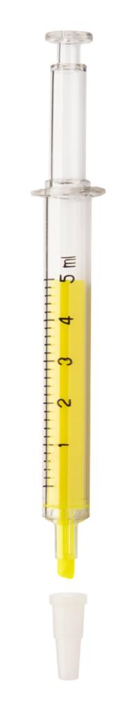 Plastový zvýrazňovač ve tvaru injekční stříkačky