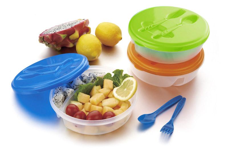 Praktická nádoba na potraviny s příbory