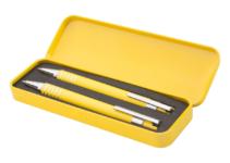 Kovové kuličkové pero a mechanická tužka v kovové krabičce