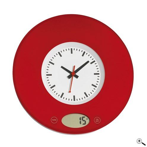 Digitální kuchyňská váha s hodinami s úchytem na zeď