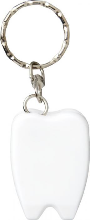 Praktická klíčenka s přívěškem zubu s dentální nití