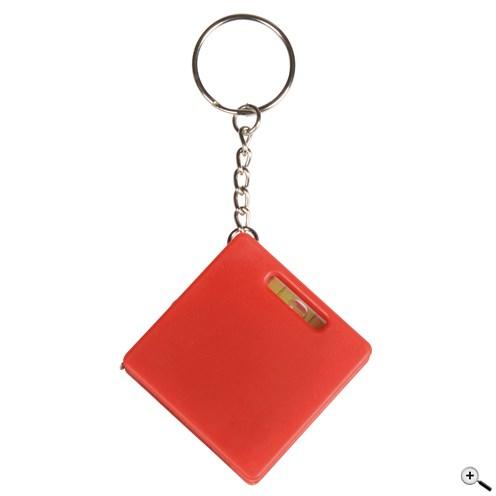 Klíčenka s měřicí páskou, vodováhou, malým kuličkovým perem