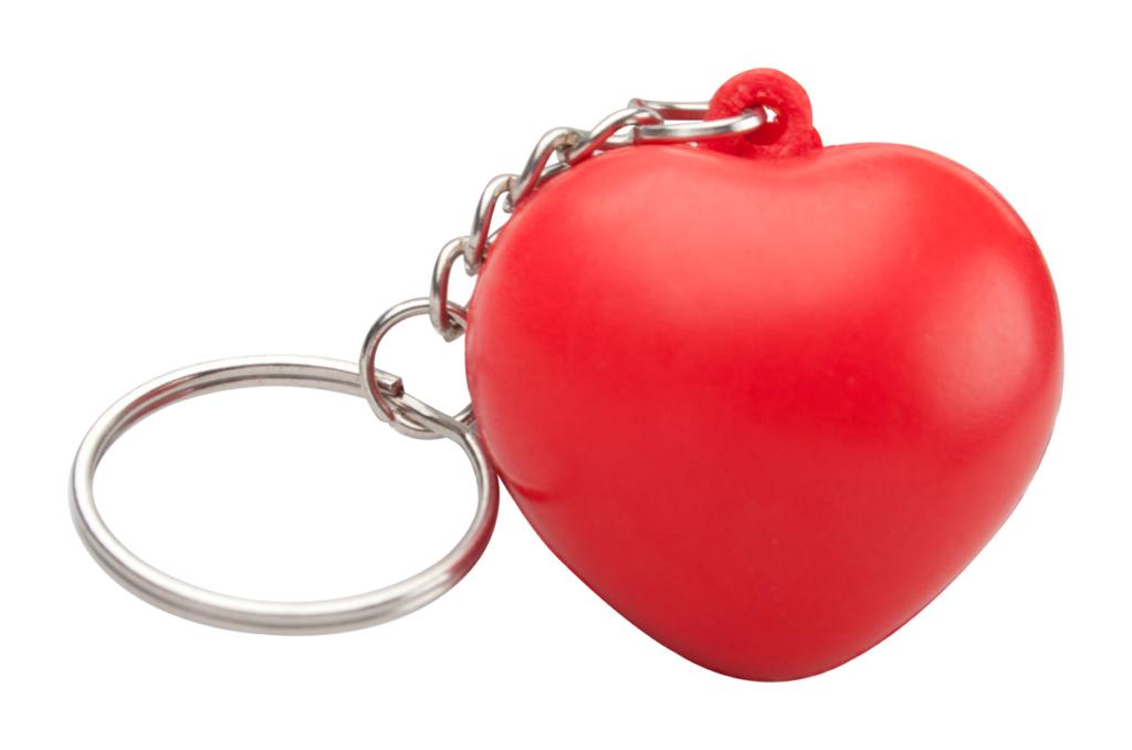 Antistresový míček ve tvaru srdce s kroužkem na klíče